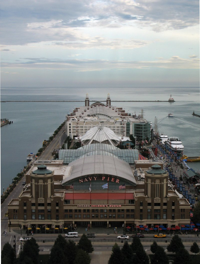 View of Navy Pier from the 23rd floor of Lake Point Tower