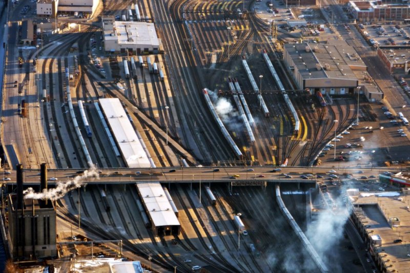 Amtrak and Metra rail yard south of Union Station