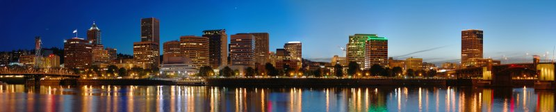 Panorama of downtown Portland Viewed from across the Willamette River in SE Portland